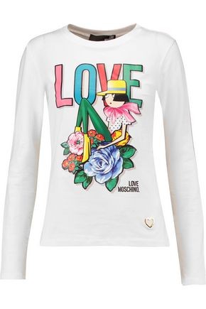 LOVE MOSCHINO Printed stretch-cotton top