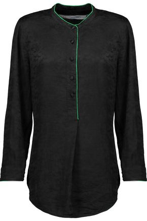 RAQUEL ALLEGRA Silk-satin jacquard top