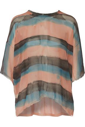 RAQUEL ALLEGRA Striped silk-chiffon top