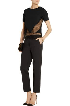 WES GORDON Lace-paneled crepe top