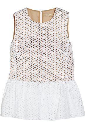 MICHAEL KORS COLLECTION Broderie anglaise cotton peplum top
