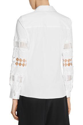 OSCAR DE LA RENTA Cutout cotton-blend shirt