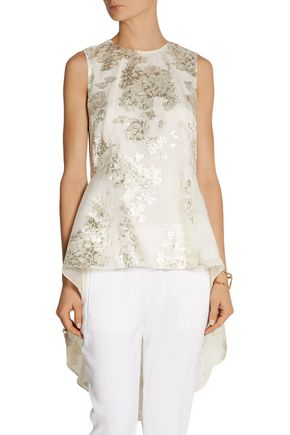 LELA ROSE Floral metallic fil coupé top