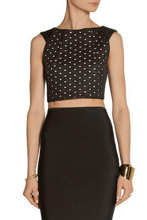 ROLAND MOURET Kerme embroidered mesh top