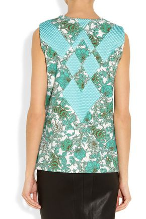 THAKOON Printed scuba-jersey and mesh top