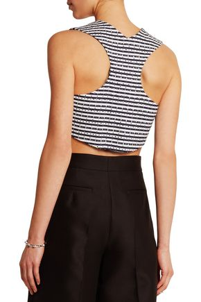 JAY AHR Cropped studded striped cotton-piqué top