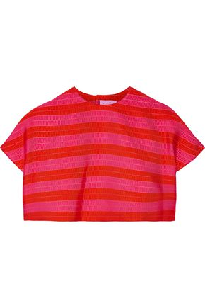 DELPOZO Cropped striped jacquard top