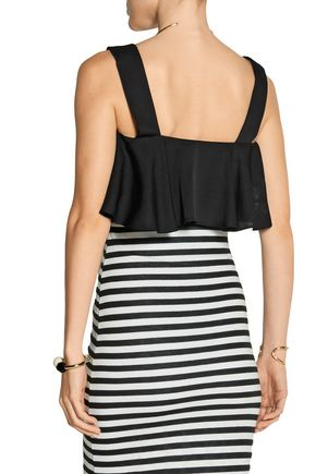 MILLY Cropped stretch-silk top