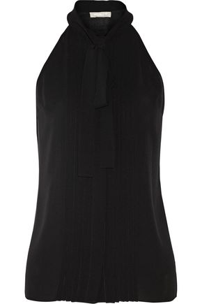 MICHAEL KORS COLLECTION Pussy-bow pleated silk-georgette top