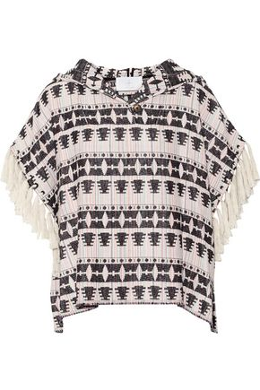THAKOON ADDITION Addition fringed hooded cotton-blend tweed top