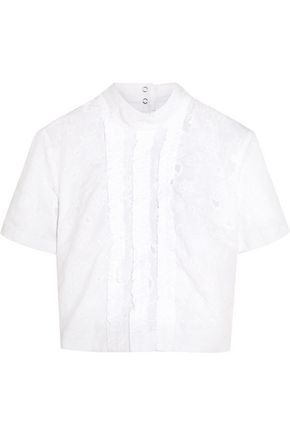 TOPSHOP UNIQUE Constance cropped broderie anglaise cotton top