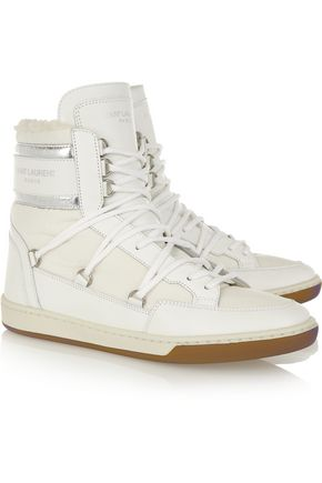 SAINT LAURENT Faux shearling-lined leather and shell high-top sneakers