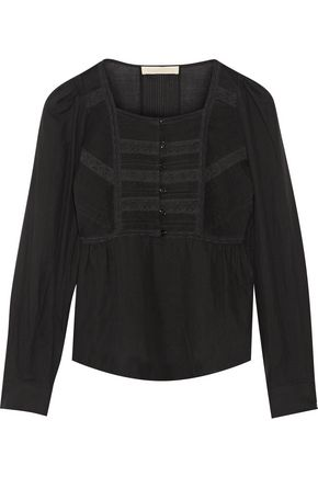 VANESSA BRUNO Dabel lace-paneled cotton-blend voile top