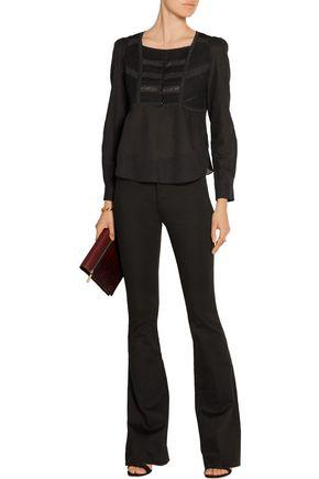 VANESSA BRUNO Dabel lace-paneled cotton-blend voile top