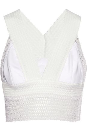 JONATHAN SIMKHAI Cord and lace-trimmed crepe bra top
