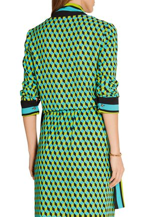 MICHAEL KORS COLLECTION Pussy-bow printed silk-crepe top