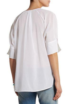 J.CREW Julie pleated cotton-gauze top