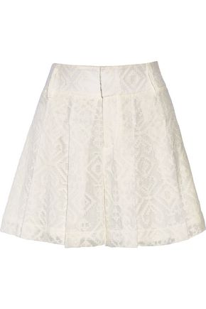 ALICE + OLIVIA Embroidered crinkled-gauze shorts