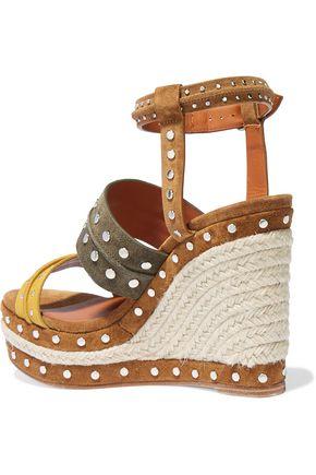 LANVIN Studded suede espadrille wedge sandals