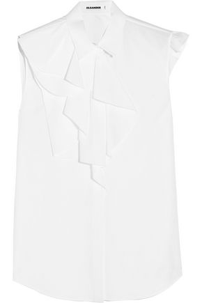 JIL SANDER Ruffled cotton-poplin blouse