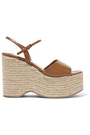 MIU MIU Leather espadrille wedge sandals