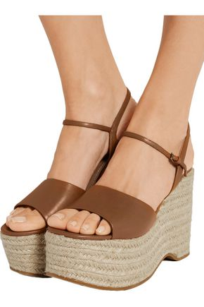MIU MIU Leather espadrille wedge sandals