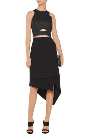 BADGLEY MISCHKA Cropped cutout textured-knit top
