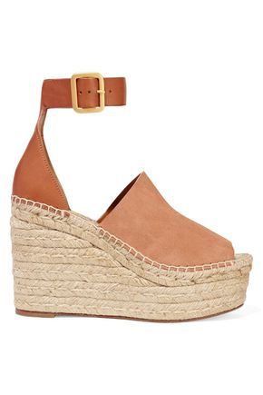 CHLOÉ Suede and leather espadrille wedge sandals