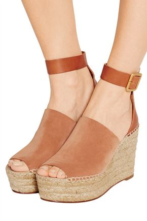30c34cfffad Suede and leather espadrille wedge sandals | CHLOÉ | Sale up to 70 ...