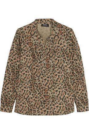 A.P.C. Leopard-print cotton-poplin shirt