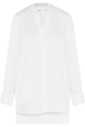 ESTEBAN CORTAZAR Embellished cotton-blend poplin tunic