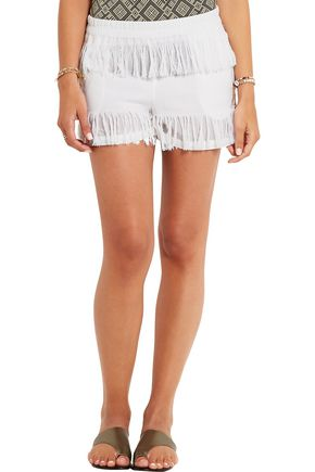 PRISM Fringed cotton-gauze shorts
