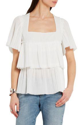 SONIA RYKIEL Tiered plissé-cotton top