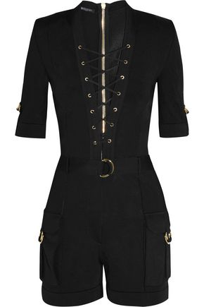 BALMAIN Lace-up stretch-knit playsuit