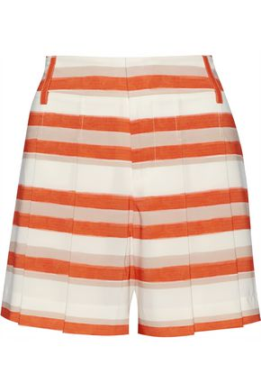 ALICE + OLIVIA Flutter striped crepe de chine shorts