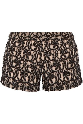 ALICE+OLIVIA Embellished distressed cotton-blend guipure lace shorts
