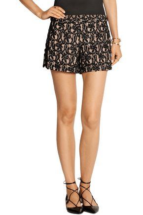 ALICE + OLIVIA Embellished guipure lace shorts