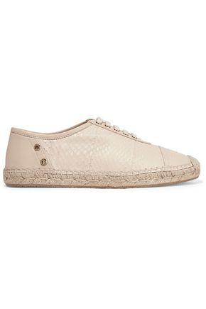 JIMMY CHOO Dare elaphe and leather espadrilles