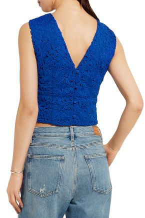 J.CREW Collection Liola cropped guipure lace top