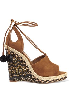 AQUAZZURA Palm Springs cutout suede espadrille wedge sandals