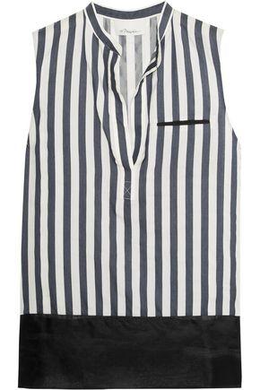 3.1 PHILLIP LIM Silk organza-paneled striped poplin top