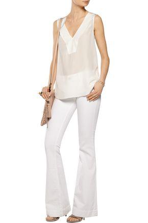 10 CROSBY DEREK LAM Silk georgette and lace top