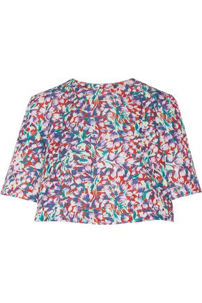 SUNO Floral-print cotton-blend faille top