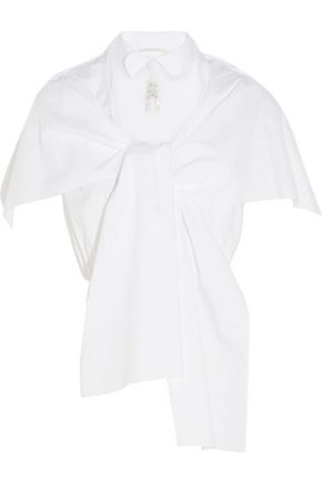 DELPOZO Two-way embellished cape-effect cotton-poplin blouse