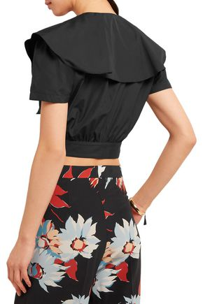 TEMPERLEY LONDON Payton cropped ruffled cotton-poplin top