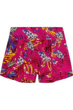 MATTHEW WILLIAMSON Printed washed-silk shorts