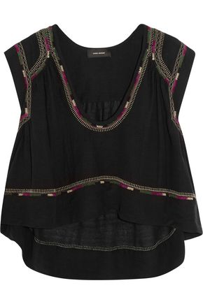 ISABEL MARANT Curtis cropped embroidered silk-bourette top