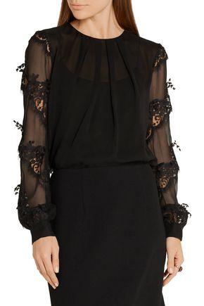 OSCAR DE LA RENTA Lace-appliquéd silk-chiffon blouse