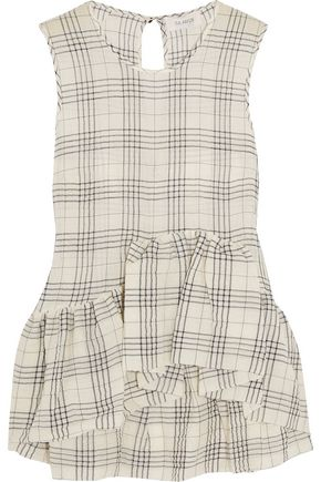 ISA ARFEN Ruffled plaid cotton-blend muslin top