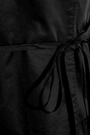 TIBI Strapless wrap-effect cotton-poplin playsuit